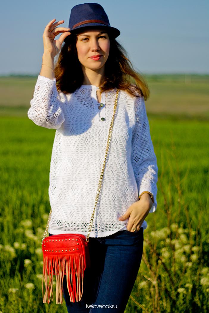 Белая филейная рубашка от Анжелы